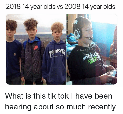 Memes, What Is, and Been: 2018 14 year olds vs 2008 14 year olds  IG:PolarSaurusRex  210 MAC What is this tik tok I have been hearing about so much recently