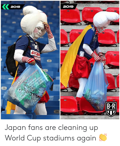 Football, World Cup, and Japan: 2018  2019  ОСТАНОВИТЬСТ  S/oryCEFE 103  nacns  ach.  26  B-R  FOOTBALL  BORPE Japan fans are cleaning up World Cup stadiums again 👏
