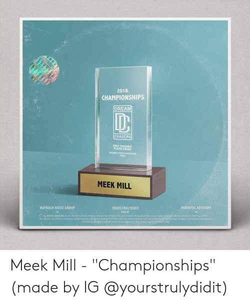 """Finals, Meek Mill, and Music: 2018  CHAMPIONSHIPS  DREAM  ID  CHASERS  MOST VALUABLE  PLAYER AWARD  NATIONAL STREETS ASSOCIATION  FINALS  MEEK MILL  MAYBACH MUSIC GROUP  LLC  PARENTAL ADVISORY  18+  YOURSTRULYDIDIT  MADE BY  ALL RIGHTS RESERVED 2018 © NO PART OF THIS PUBLICATION MAY BE REPRODUCED, DISTRUBTED, OR TRANSMITED IN ANY FORM OR BY ANY MEANS. INCLUDING PHOTOCOPYİNG  RECORDING, OR OTHER ELECTRONIC OR MECHANICAL METyODS, wiTHOUT THE PRIOR WRITTEN PERMISSION OF THE PUBLUSHER EXCEPTIN THE CASE OF BRIED QUOTATIONS EMBODIEDIN  CRTICAL REVIEWAND CERTAIN OTHER NONCOMMERCIAL USES PERMITED eY COPRIGHTLAW Meek Mill - """"Championships"""" (made by IG @yourstrulydidit)"""
