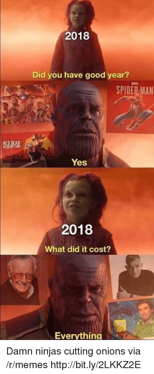 Memes, Good, and Http: 2018  Did you have good year?  SPIDERMAN  Yes  2018  What did it cost?  Everything Damn ninjas cutting onions via /r/memes http://bit.ly/2LKKZ2E