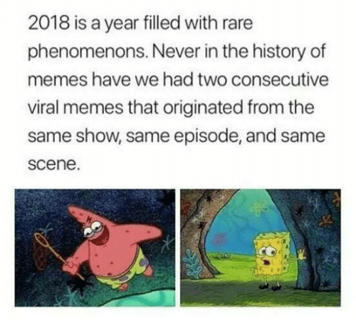 Memes, History, and Never: 2018 is a year filled with rare  phenomenons. Never in the history of  memes have we had two consecutive  viral memes that originated from the  same show, same episode, and same  scene