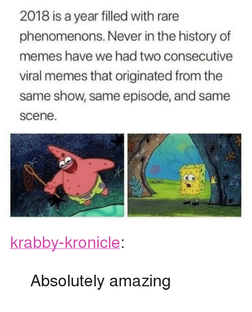 """Memes, Target, and Tumblr: 2018 is a year filled with rare  phenomenons. Never in the history of  memes have we had two consecutive  viral memes that originated from the  same show, same episode, and same  scene <p><a href=""""http://krabby-kronicle.tumblr.com/post/172741310419/absolutely-amazing"""" class=""""tumblr_blog"""" target=""""_blank"""">krabby-kronicle</a>:</p><blockquote><p>Absolutely amazing</p></blockquote>"""