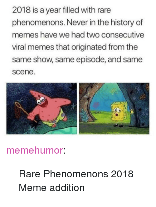 """Meme, Memes, and Tumblr: 2018 is a year filled with rare  phenomenons. Never in the history of  memes have we had two consecutive  viral memes that originated from the  same show, same episode, and same  scene. <p><a href=""""http://memehumor.net/post/172769390834/rare-phenomenons-2018-meme-addition"""" class=""""tumblr_blog"""">memehumor</a>:</p>  <blockquote><p>Rare Phenomenons 2018 Meme addition</p></blockquote>"""