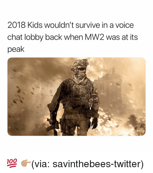Funny, Twitter, and Chat: 2018 Kids wouldn't survive in a voice  chat lobby back when MW2 was at its  peak 💯 👉🏽(via: savinthebees-twitter)