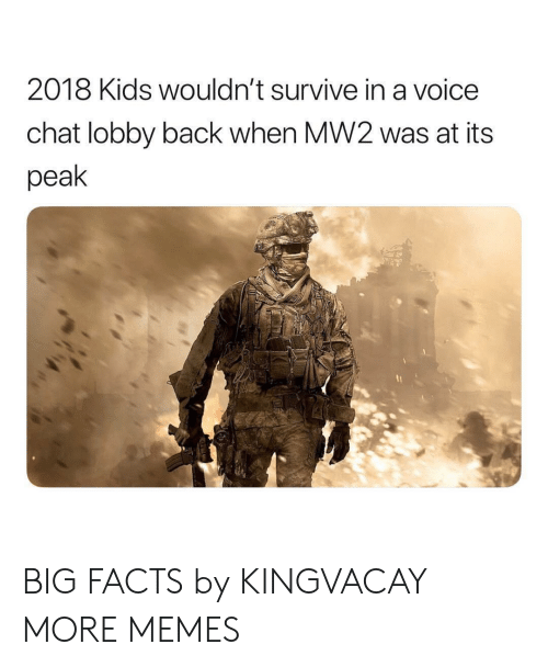 Dank, Facts, and Memes: 2018 Kids wouldn't survive in a voice  chat lobby back when MW2 was at its  peak BIG FACTS by KINGVACAY MORE MEMES