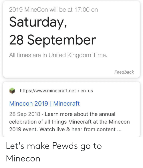 2019 MineCon Will Be at 1700 on Saturday 28 September All