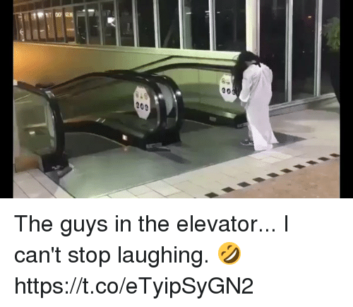 Funny, Laughing, and Stop: 20e  00 The guys in the elevator... I can't stop laughing. 🤣 https://t.co/eTyipSyGN2