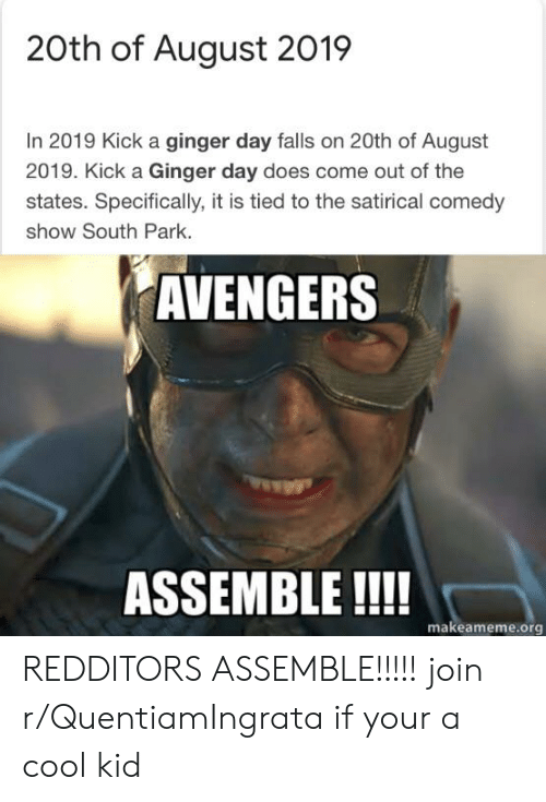 20th of August 2019 in 2019 Kick a Ginger Day Falls on 20th