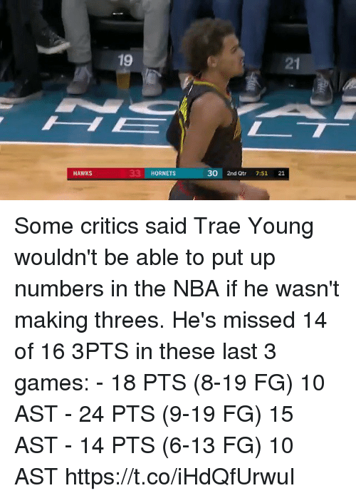 me.me: 21  33 HORNETS  30 2nd Qtr 7:51 21  HAWKS Some critics said Trae Young wouldn't be able to put up numbers in the NBA if he wasn't making threes. He's missed 14 of 16 3PTS in these last 3 games:   - 18 PTS (8-19 FG) 10 AST - 24 PTS (9-19 FG) 15 AST - 14 PTS (6-13 FG) 10 AST https://t.co/iHdQfUrwuI