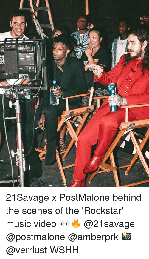 Memes, Music, and Wshh: 21Savage x PostMalone behind the scenes of the 'Rockstar' music video 👀🔥 @21savage @postmalone @amberprk 📸 @verrlust WSHH