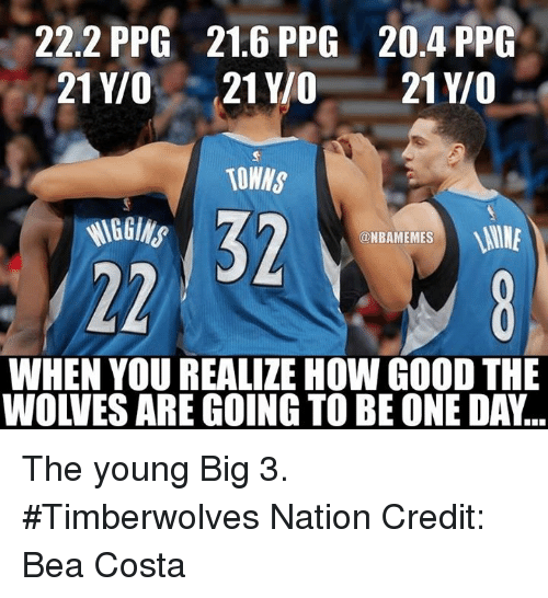 Nba, Wine, and Ppg: 22.2 PPG 21.6 PPG 20.4 PPG  21 Y/O  21 YO  21 Y/O  TOWNS  WINE  @NBAMEMES  WHEN YOU REALIZE HOWGOOD THE  WOWES ARE GOING TO BE ONE DA... The young Big 3. #Timberwolves Nation Credit: Bea Costa