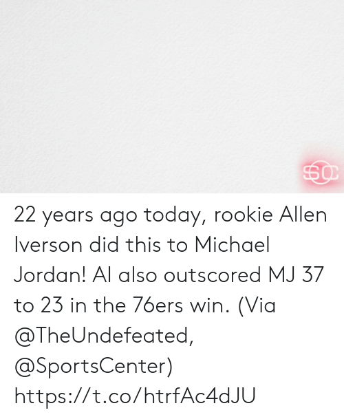 Philadelphia 76ers, Allen Iverson, and Memes: 22 years ago today, rookie Allen Iverson did this to Michael Jordan!   AI also outscored MJ 37 to 23 in the 76ers win.   (Via @TheUndefeated, @SportsCenter) https://t.co/htrfAc4dJU