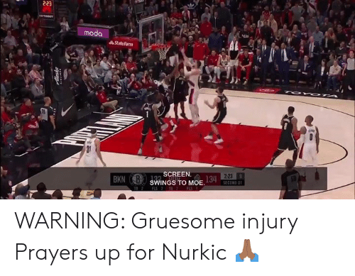 Memes, Statefarm, and Moe.: 223  moda  StateFarm  2-23  SCREEN.  BKN SWINGS TO MOE WARNING: Gruesome injury Prayers up for Nurkic 🙏🏾