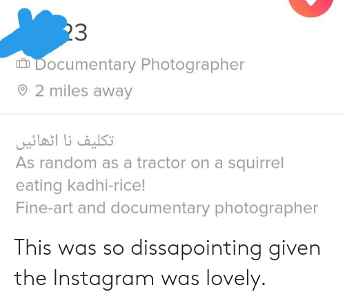 Instagram, Squirrel, and Art: 23  Documentary Photographer  2 miles away  تکلیف نا اثهائي  As random as a tractor on a squirrel  eating kadhi-rice!  Fine-art and documentary photographer This was so dissapointing given the Instagram was lovely.
