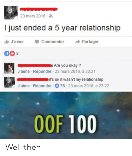 Anaconda, Mars, and Relationship: 23 mars 2016  I just ended a 5 year relationship  J'aimeCommenter Partager  J'aime  Répondre 23 mars 2016, à 23:21  It's ok it wasn't my relationship  J'aime Répondre  78-23 mars 2016, à 23:22  OOF 100 Well then