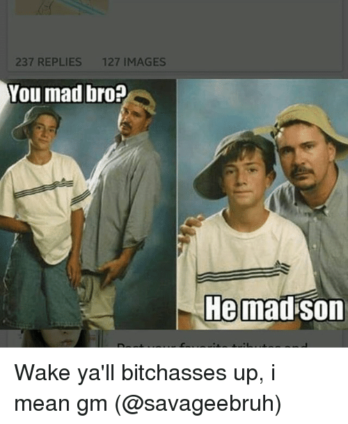 237 replies 127 images you mad bro he madson wake 25396651 ✅ 25 best memes about you mad bro you mad bro memes