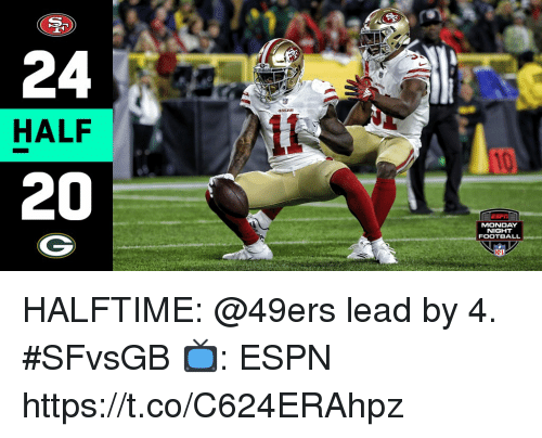 San Francisco 49ers, Espn, and Football: 24  HALF  20  MONDAY  NIGHT  FOOTBALL HALFTIME: @49ers lead by 4. #SFvsGB  📺: ESPN https://t.co/C624ERAhpz