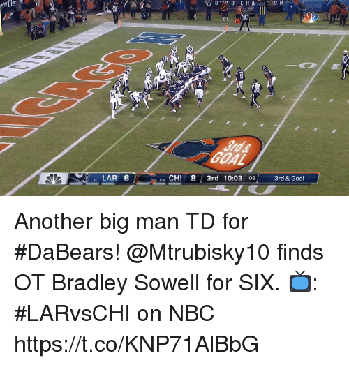 Memes, Goal, and 🤖: 24  LAR 6  4 CHI 8 3rd 10:03 08 3rd & Goal  8-4 Another big man TD for #DaBears!  @Mtrubisky10 finds OT Bradley Sowell for SIX.  📺: #LARvsCHI on NBC https://t.co/KNP71AlBbG