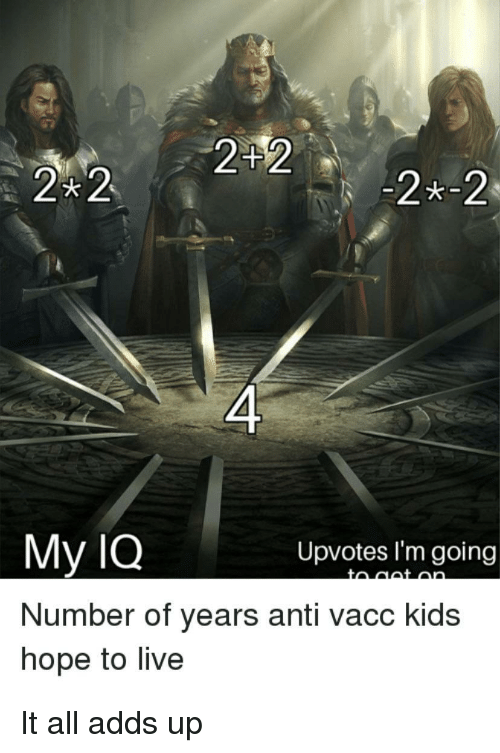 Kids, Live, and Hope: 242  2x-2  4  My lQ  Number of years anti vacc kids  hope to live  Upvotes l'm going It all adds up