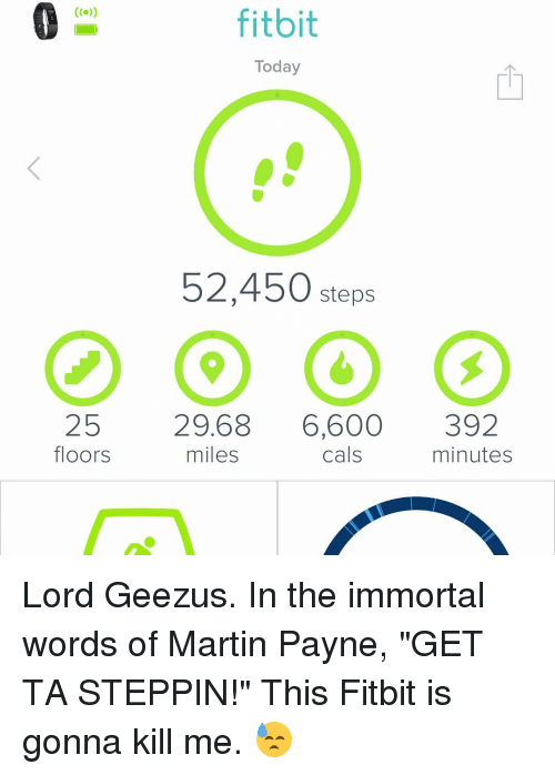 25 Floors Fitbit Today 52450 Steps 2968 6600 392 Miles