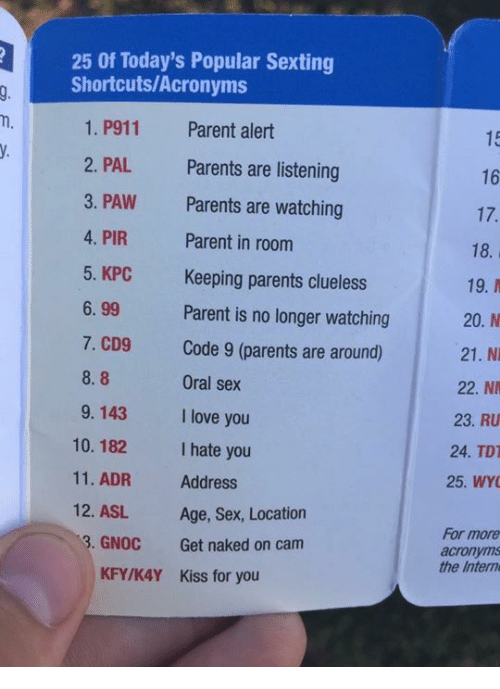 Sex acronyms list