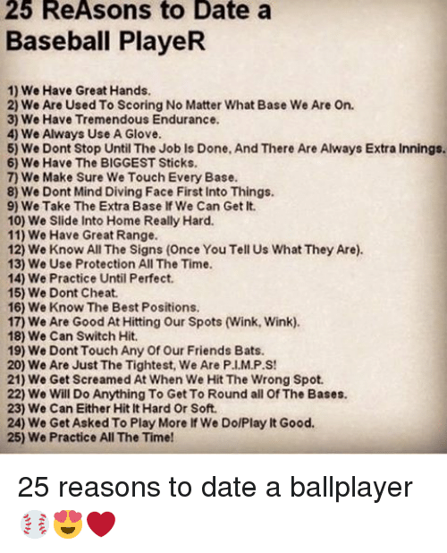 Reasons To Date A Baseball Player