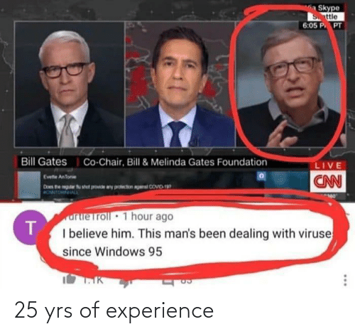 Experience and Yrs: 25 yrs of experience