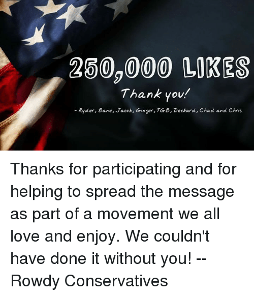 250000 Likes Thank You Ryder Bane Jacob Ginser Tg 8 Deckard Chad