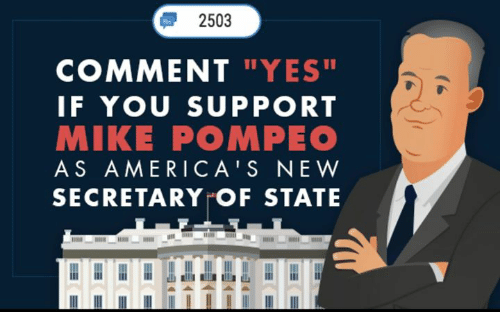 "Conservative, Yes, and Secretary of State: 2503  COMMENT ""YES  IF YOU SUPPORT  MIKE POMPEO  AS AMERICA'S NE W  SECRETARY OF STATE"