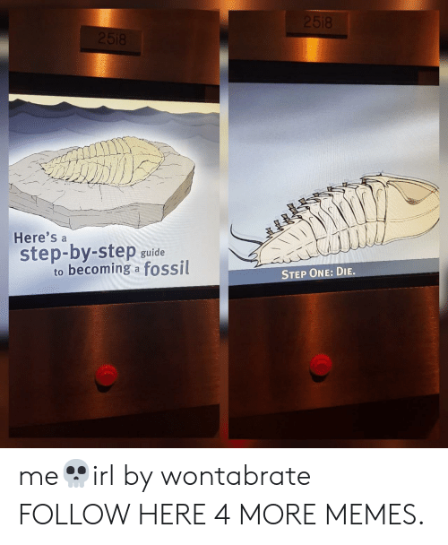 Dank, Memes, and Target: 2518  2518  Here's  step-by-step  to becoming a fossil  guide  STEP ONE: DIE. me💀irl by wontabrate FOLLOW HERE 4 MORE MEMES.