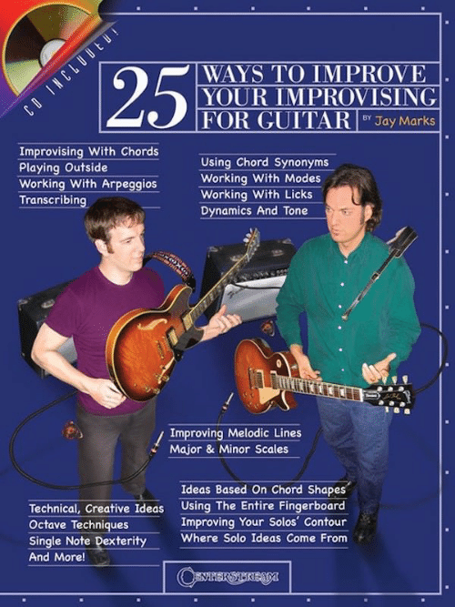Jay, Guitar, and Synonyms: 258  WAYS TO IMPROVE  YOUR İMPROVİSİNG  FOR GUITAR İ  BY Jay Marks  Improvising With Chords  Playing Outside  werking With ArpeggiosWorking With hodes  Using Chord Synonyms  Working With Modes  Working With Licks  Dynamics And Tone  Transcribing  Improving Melodic Lines  Major & Minor Scales  Ideas Based On Chord Shapes  Technical, Creative Ideas Using The Entire Fingerboard  Octave Techniques  Single Note DexterityWhere Solo Ideas Come From  And More!  Improving Your Solos' Contour