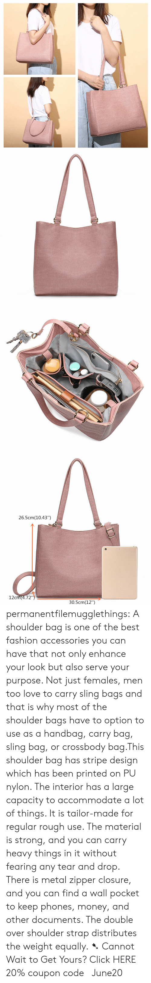 """Click, Fashion, and Love: 26.5cm(10.43"""")  12cm(4.72"""")  30.5cm(12"""") permanentfilemugglethings: A shoulder bag is one of the best fashion accessories you can have that not only enhance your look but also serve your purpose. Not just females, men too love to carry sling bags and that is why most of the shoulder bags have to option to use as a handbag, carry bag, sling bag, or crossbody bag.This shoulder bag has stripe design which has been printed on PU nylon. The interior has a large capacity to accommodate a lot of things. It is tailor-made for regular rough use. The material is strong, and you can carry heavy things in it without fearing any tear and drop. There is metal zipper closure, and you can find a wall pocket to keep phones, money, and other documents. The double over shoulder strap distributes the weight equally. ➷ Cannot Wait to Get Yours? Click HERE 20% coupon code: June20"""