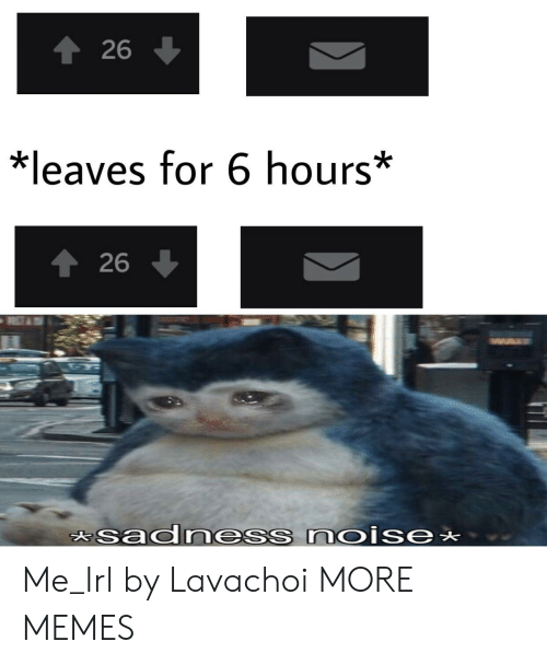 Dank, Memes, and Target: 26  *leaves for 6 hours*  1 26  asadness noise Me_Irl by Lavachoi MORE MEMES