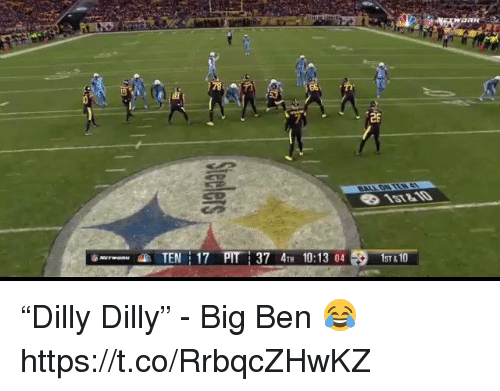 "Football, Nfl, and Sports: 26  NTEN 17 PIT  37 47H 10:13 04  ST &1U ""Dilly Dilly"" - Big Ben 😂  https://t.co/RrbqcZHwKZ"