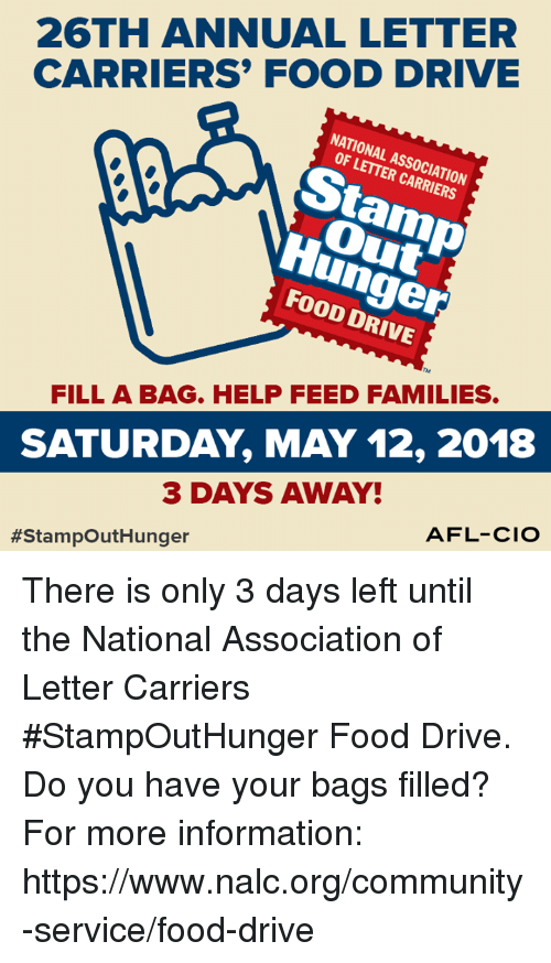 community food and memes 26th annual letter carriers food drive national association