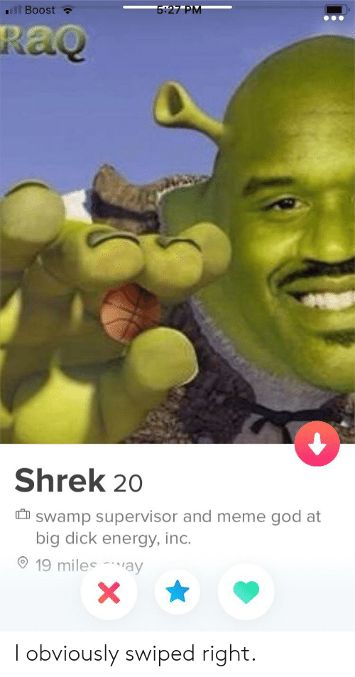 Big Dick, Energy, and God: 27 P  Shrek 20  swamp supervisor and meme god at  big dick energy, inc.  19 miles ,ay I obviously swiped right.