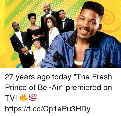 "Fresh, Fresh Prince of Bel-Air, and Prince: 27 years ago today ""The Fresh Prince of Bel-Air"" premiered on TV! 🔥💯 https://t.co/Cp1ePu3HDy"