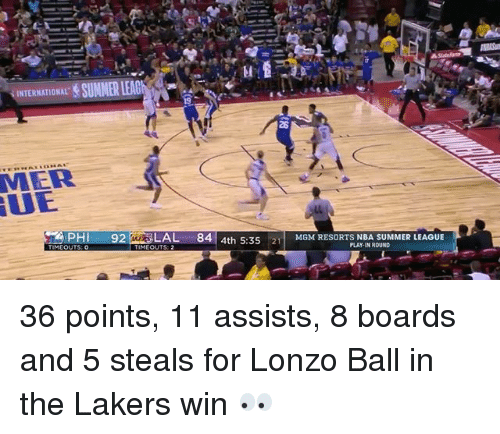 Los Angeles Lakers, Nba, and Sports: 28  MER  UE  PH 92AL 84 4th 5:3521MMRESORTS NBA SUMMER LEAGUE  MGM RESORTS NBA SUMMER LEAGUE  PLAY-IN ROUND  MEOUTS: 2 36 points, 11 assists, 8 boards and 5 steals for Lonzo Ball in the Lakers win 👀
