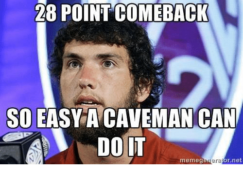 28 Pointcomeback So Easy A Caveman Can Memeg Era Or Net Nfl Meme