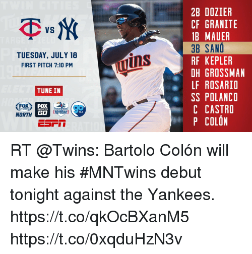 Baseball, Memes, and Sports: 2B DOZIER  CF GRANITE  B MAUER  3D SANO  RF KEPLER  DH GROSSMAN  LF ROSARIO  SS POLANCO  C CASTRO  P COLON  VS  TUESDAY, JULY 18  FIRST PITCH 7:10 PM  ins  TUNE IN  FOX  GO  Treasure Island  BASEBALL  SPORTS  SPORTS  96.3  NORTH RT @Twins: Bartolo Colón will make his #MNTwins debut tonight against the Yankees. https://t.co/qkOcBXanM5 https://t.co/0xqduHzN3v