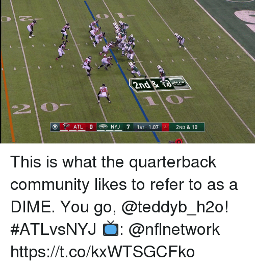 Community, Memes, and 🤖: 2D  2  ATL 0 NYJ 7 1ST 1:07 4 2ND & 10 This is what the quarterback community likes to refer to as a DIME. You go, @teddyb_h2o! #ATLvsNYJ  📺: @nflnetwork https://t.co/kxWTSGCFko