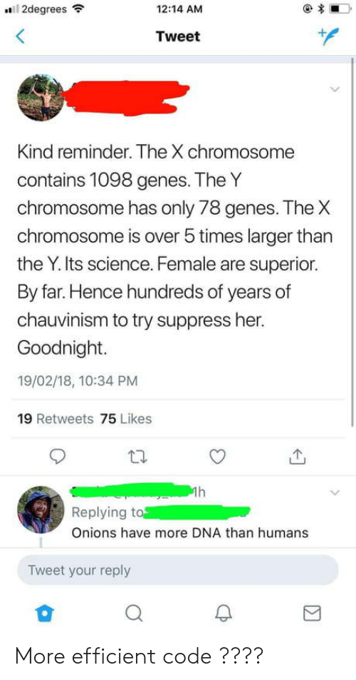 Science, Superior, and Her: 2degrees  12:14 AM  Tweet  Kind reminder. The X chromosome  contains 1098 genes. The Y  chromosom  chromosome is over 5 times larger than  the Y. Its science. Female are superior.  By far. Hence hundreds of years of  chauvinism to try suppress her.  Goodnight.  19/02/18, 10:34 PM  19 Retweets 75 Likes  e has only 78 genes. The X  th.  个  Replying to  Onions have more DNA than humans  Tweet your reply More efficient code ????