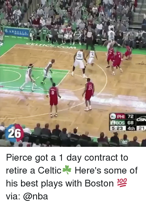 Basketball, Be Like, and Celtic: 2l  9  PHI 72  BOS 68  5:23  4th :21  26  2ó Pierce got a 1 day contract to retire a Celtic☘️ Here's some of his best plays with Boston 💯 via: @nba
