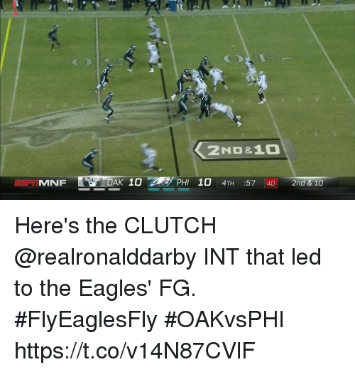 Philadelphia Eagles, Memes, and 🤖: 2ND&10  OAK 10 Here's the CLUTCH @realronalddarby INT that led to the Eagles' FG. #FlyEaglesFly  #OAKvsPHI https://t.co/v14N87CVlF