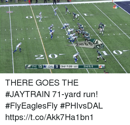 Memes, Run, and 🤖: 2ND &  15  DAL 9 3rd 7:28 :07  2nd & 6  PHI THERE GOES THE #JAYTRAIN  71-yard run! #FlyEaglesFly #PHIvsDAL https://t.co/Akk7Ha1bn1