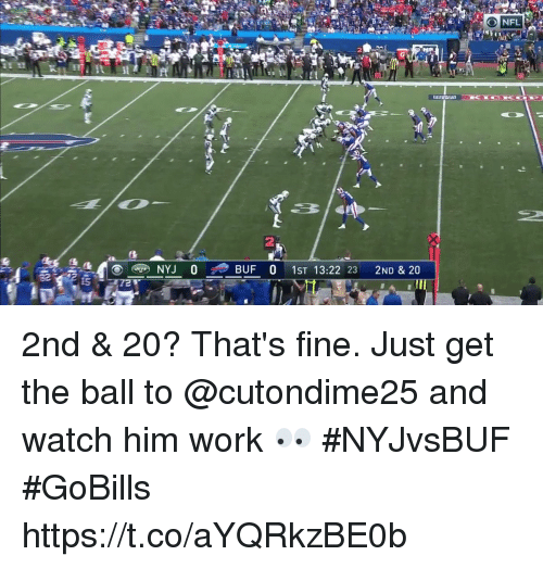 me.me: 2nd & 20?  That's fine.   Just get the ball to @cutondime25 and watch him work 👀 #NYJvsBUF #GoBills https://t.co/aYQRkzBE0b