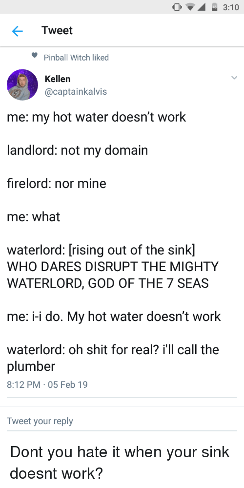 God, Shit, and Work: 3:10  Tweet  Pinball Witch liked  Kellen  @captainkalvis  me: my hot water doesn't work  landlord: not my domain  firelord: nor mine  me: what  waterlord: [rising out of the sink]  WHO DARES DISRUPT THE MIGHTY  WATERLORD, GOD OF THE 7 SEAS  me: -i do. My hot water doesn't work  waterlord: oh shit for real? i'll call the  plumber  8:12 PM 05 Feb 19  Tweet your reply Dont you hate it when your sink doesnt work?