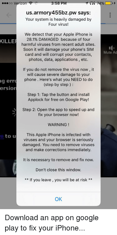 Malware ad for adult dating on iphone
