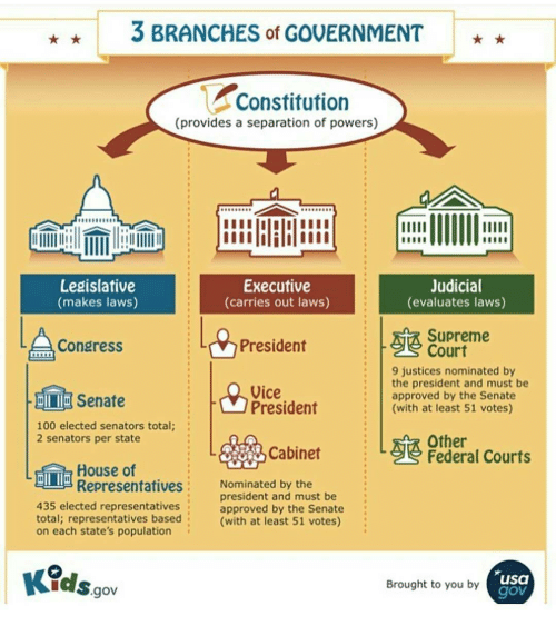 3 BRANCHES Of GOVERNMENT Constitution Provides A