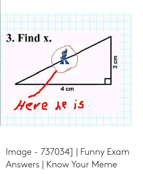 Funny, Meme, and Image: 3. Find x  4 cm  Here he is  3 cm Image - 737034] | Funny Exam Answers | Know Your Meme